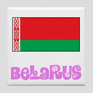 Belarus Flag Pink Flower Design Tile Coaster